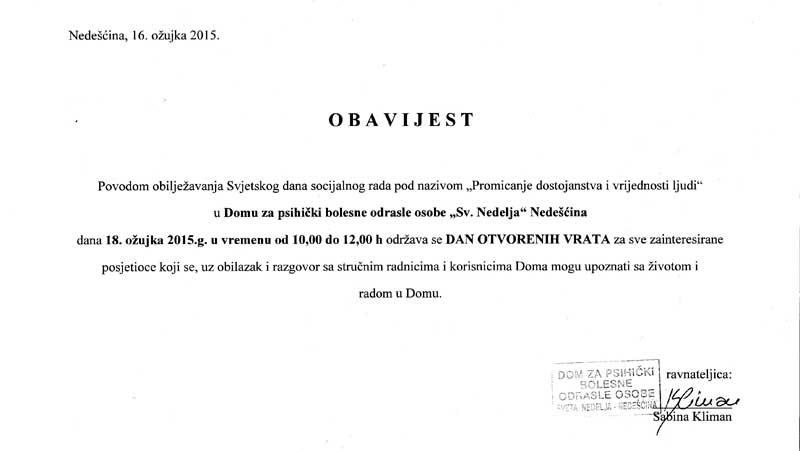 """Dan otvorenih vrata - """"Promicanje dostojanstva i vrijednosti ljudi"""""""